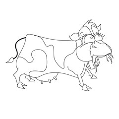 Foto op Plexiglas Sprookjeswereld Cow that is eating for coloring book page. vector illustration for children.