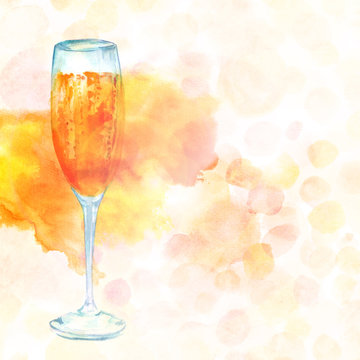 Elegant watercolor champagne glass on light golden texture with copyspace
