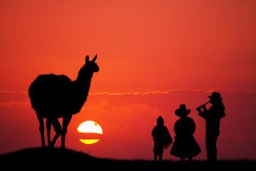 Peruvian family at sunset