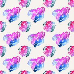 Beautiful watercolor butterflies on white background, seamless pattern