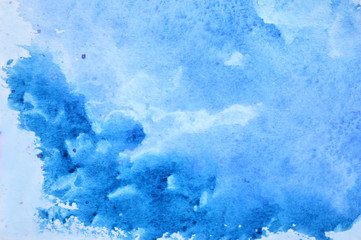 Beautiful watercolor blue background like a sky and a clouds