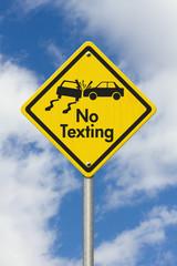 No Texting Yellow Warning Highway Road Sign
