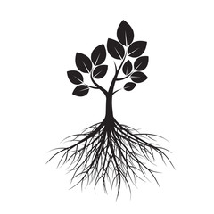 Shape of Tree and Roots. Vector Illustration.