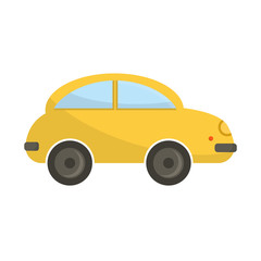 Yellow funny cartoon car vector illustration.
