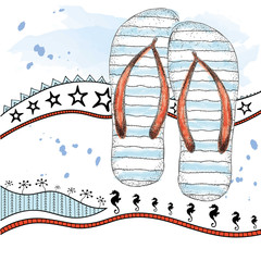 Sketch of beach slippers. Summer shoes. Vector illustration