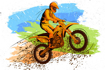 Concept of sportsman doing Motorcross