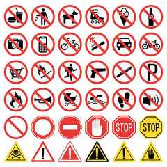 Prohibition signs set vector illustration. Warning danger symbol prohibiting signs. Forbidden safety information prohibiting signs. Protection signs no pet warning information sign.
