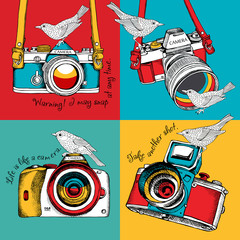 The poster in the style of pop art with the image of the camera and birds. Vector illustration.