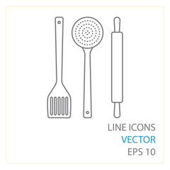 skimmer, spatula, rolling pin vector line icons