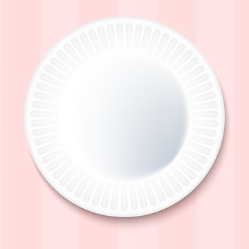White Paper Plate Isolated on pink Background.