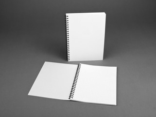 Blank spiral notebook on gray background
