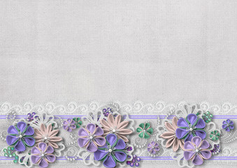 Vintage background with handmade flowers and lace