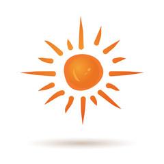 Hand drawn sun icon. Grunge sun icon isolated on white background. Sun logo. Cute cartoon sun. Weather, summer, nature, sun star. Star sun silhouette. Nature sun star. Editable vector illustration