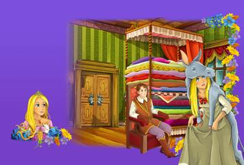 Cartoon scene of prince princess - palace room - manga girl - illustration for children