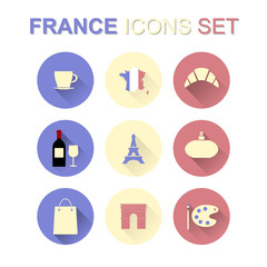 France icons set with long shadow. Vector illustration