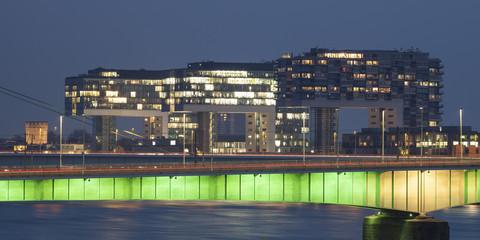 Kranhäuser am Rheinauhafen, Köln, Nordrhein-Westfalen, Deutschland, Europa