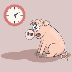 Sleepy cartoon pig in early morning. Tired swine