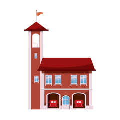 Fire station with tower icon, cartoon style