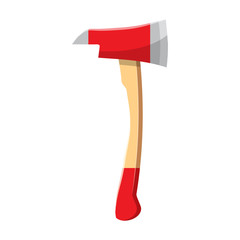Red axe icon in cartoon style