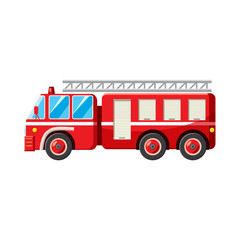 Fire truck icon in cartoon style