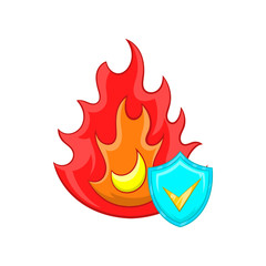 Fire and sky blue shield with tick icon