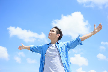 Carefree man feel happy