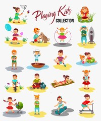 Vector children playing isolated. Cartoon kids, boy rides a bicycle, holding a balloon and play with the ball. Girl catches a butterfly, eating ice cream and playing with teddy bear.
