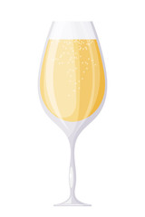 A glass of champagne wine with bubbles on a white background. Th