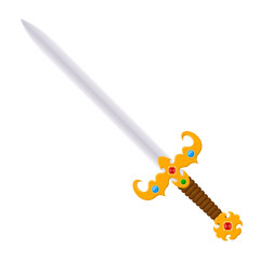 Antique vintage two-handed sword with a jeweled. Cartoon style.