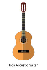 Icon simple acoustic guitar on a white background. Sign of music