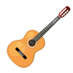 Musical instrument - acoustic cartoon guitar with strings on a w