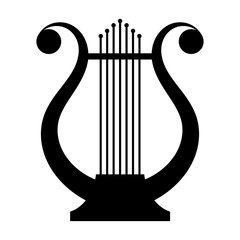 Black image of an ancient lyre musical instrument on a white bac
