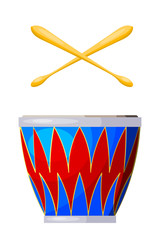 Percussion instrument drum on a white background. Isolated objec