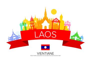 laos Travel Landmarks and flag.