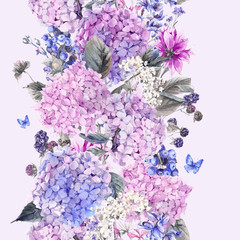 Floral seamless border with Hydrangea