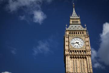 Big Ben against blue sky, London, UK