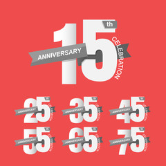 Set of anniversary signs, Anniversary Celebration. Vector