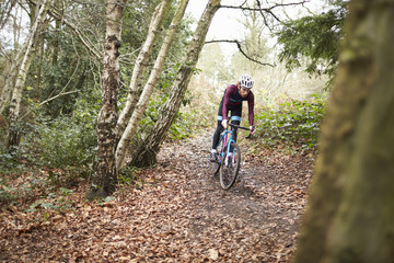 Cross-country cyclist riding on a forest trail, front view