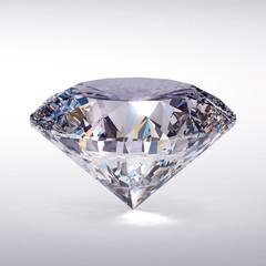 Diamond placed on white background. 3d illustration.