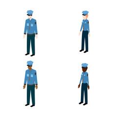 Set of isometric policemen