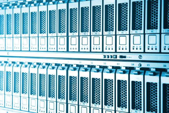 Storage Area Network (SAN) close up