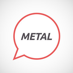 Isolated comic balloon icon with    the text METAL