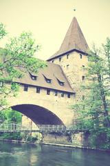 Wall Mural - Tower and bridge in Nuremberg