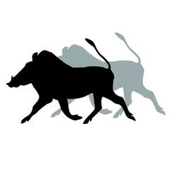 African warthog black silhouette