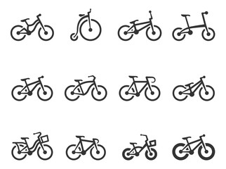 Bicycle type icons in single color.