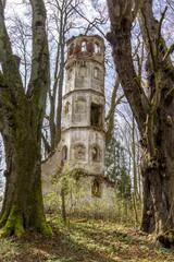 Ruine eines Kirchturms verfällt im Wald