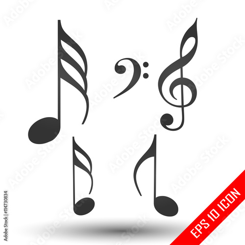 Music notes icon. Simple flat logo of music notes isolated on ...