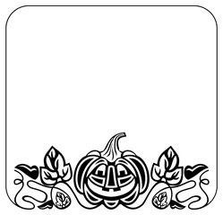 Black and white round frame with Halloween pumpkin silhouette. Vector clip art.