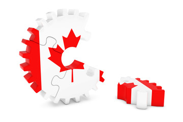Canadian Flag Gear Puzzle with Piece on Floor 3D Illustration