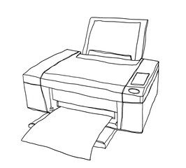 vector printer cute hand drawn painting line art illustration